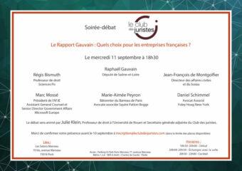 Soirée-débat - Rapport Gauvain : Quels Choix Pour Les Entreprises Françaises ?